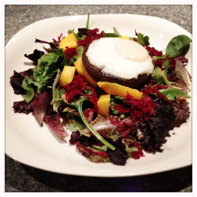 trust in kim - portobello-poached egg on salad