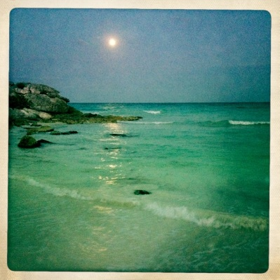 Tulum beach at night
