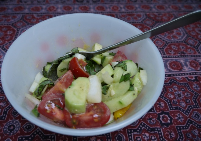 cucumber, tomato and red pepper sa