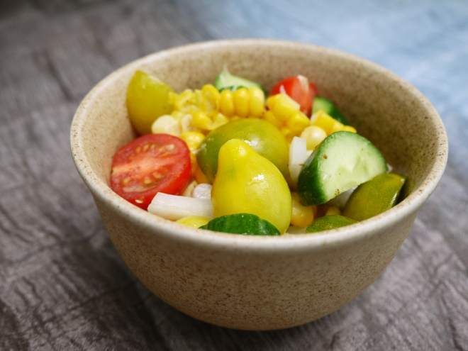 tomato cucumber and corn salad - trust in kim