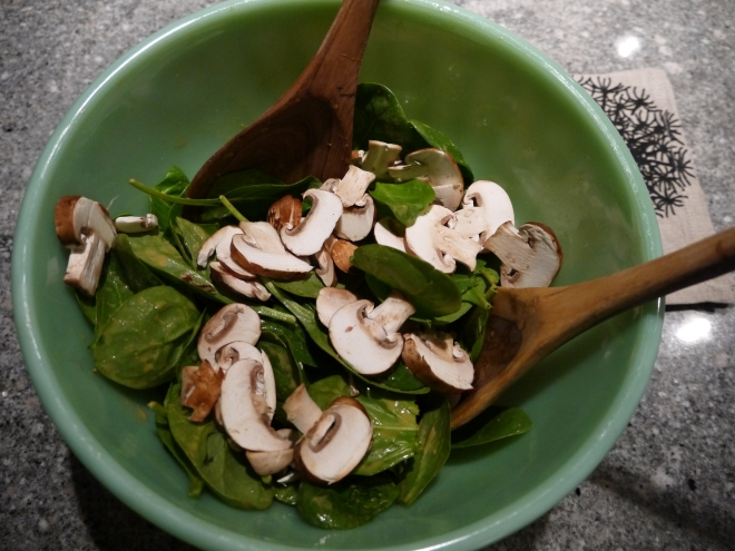spinach salad with glory bowl dressing - trust in kim