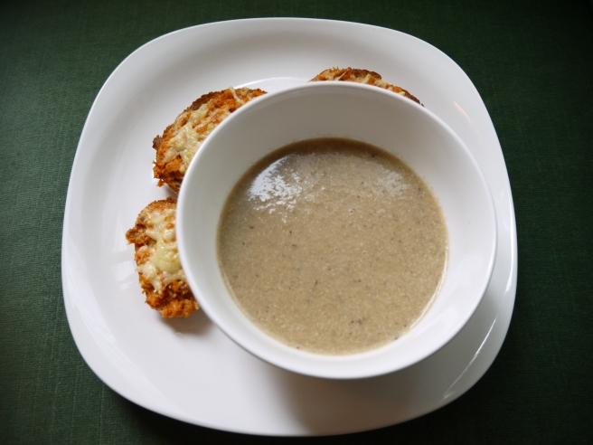 vegan cream of mushroom with cheese toasts - trust in kim