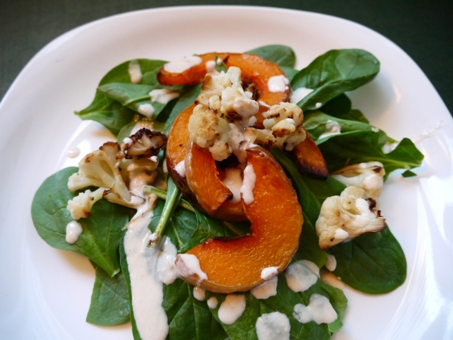 Roasted Butternut and Cauliflower Salad with Tahini Dressing - trust in kim