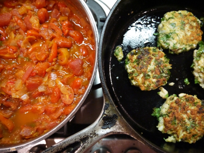fish cakes and tomato sauce - trust in kim