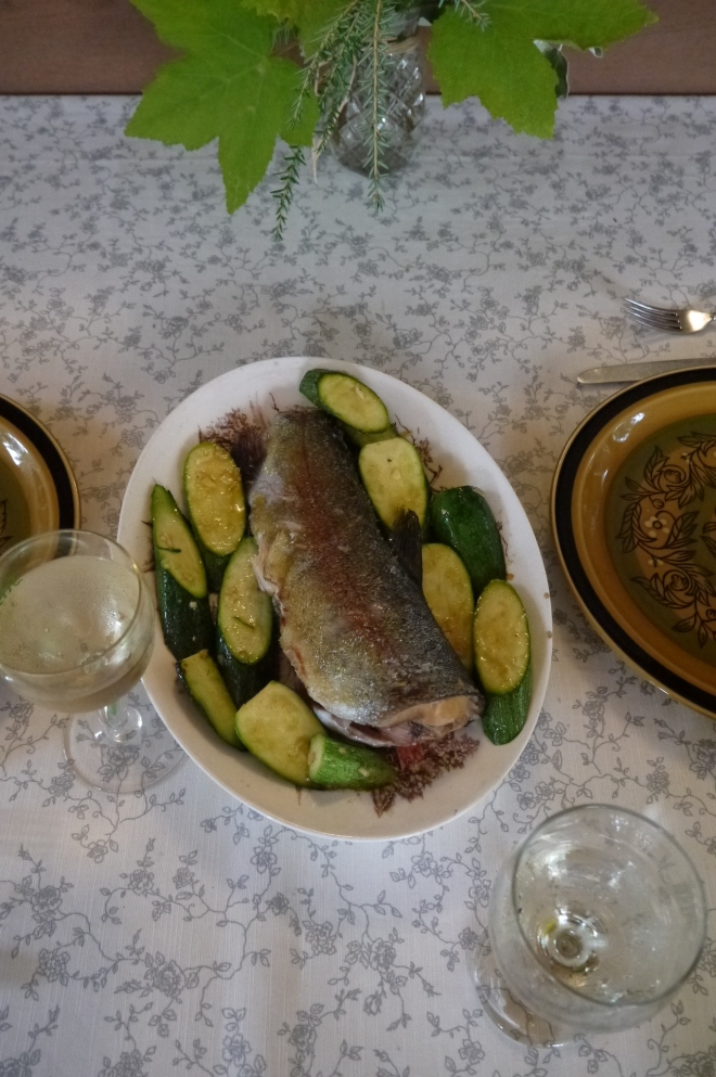 panfried garlic trout - trust in kim
