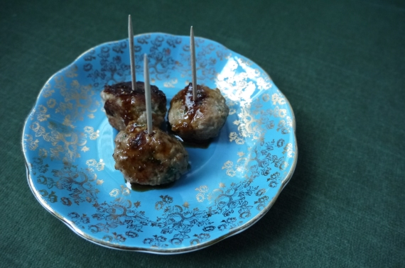 scallion meatballs with soy ginger glaze - trust in kim