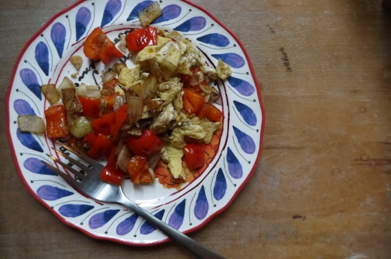 scrambled eggs and vegetables - trust in kim