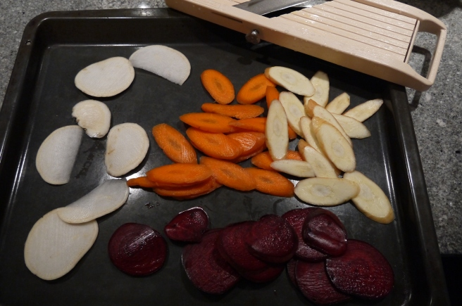 sliced root vegetables - trust in kim