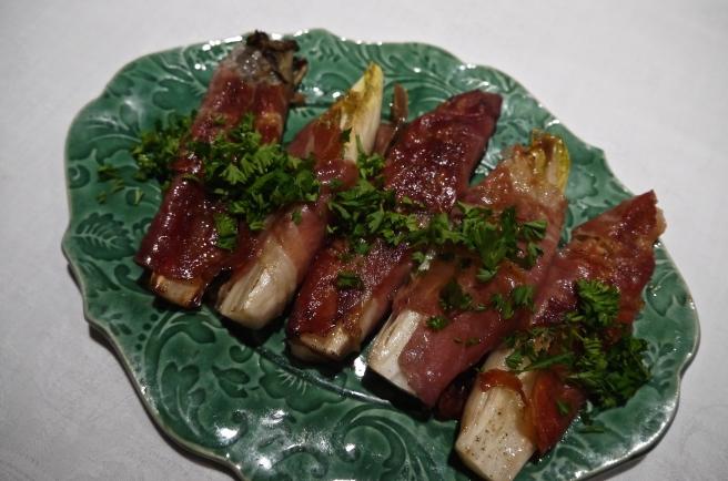prosciutto wrapped grilled endive - trust in kim