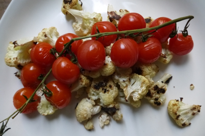 roasted cauliflower and cherry tomatoes - trust in kim
