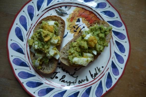 egg and avocado open-faced sandwich - trust in kim