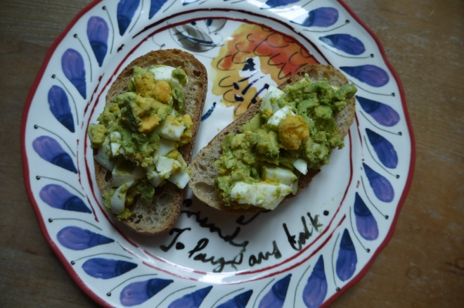 egg and avocado open-faced sandwich - trust in kim