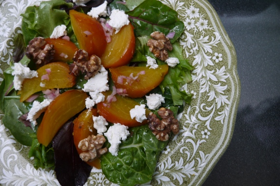 roasted beet goat cheese and walnut salad - trust in kim