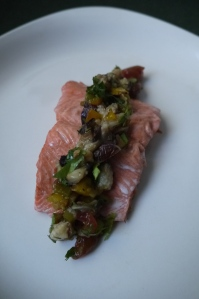 vegetable caviar on salmon - trust in kim