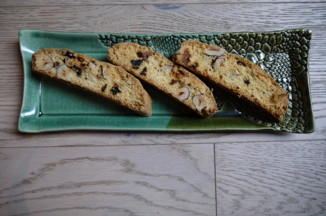 hazelnut white chocolate sour cherry biscotti - trust in kim