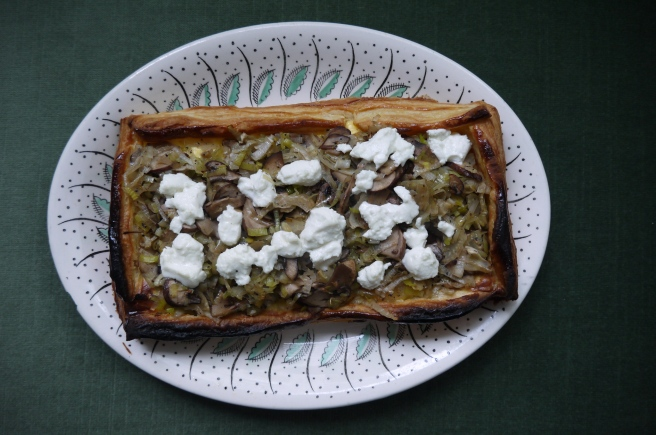leek, mushroom and goat cheese tart- trustinkim