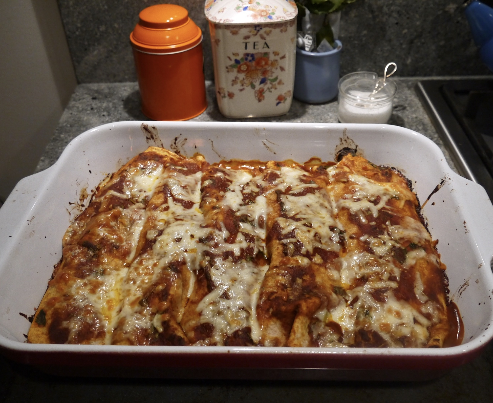 avocado and pinto bean enchilada - trustinkim