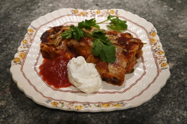 avocado and pinto bean enchiladas - trustinkim