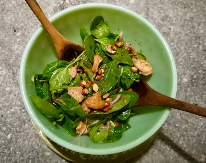 Ottolenghi baby spinach salad with dates and almonds - trustinkim