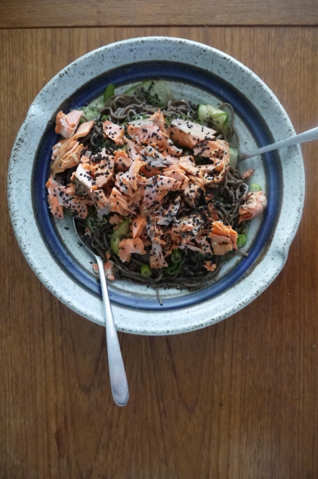 Soba Noodles with Grilled Salmon - trustinkim