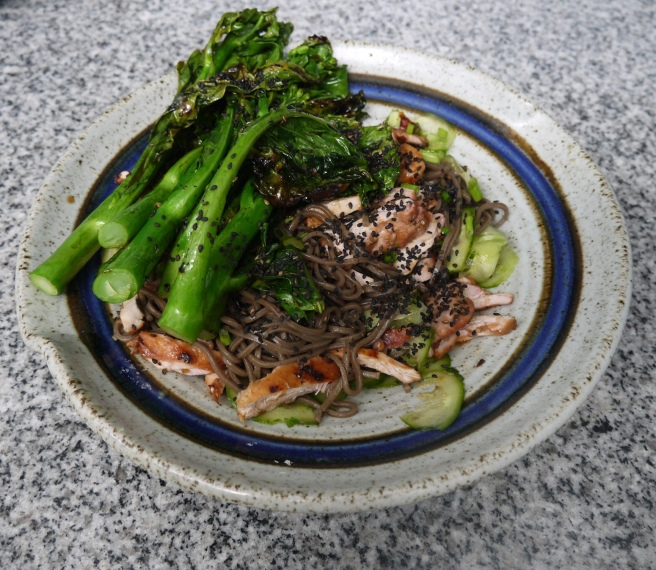 Grilled chicken over soba noodles with gai lan