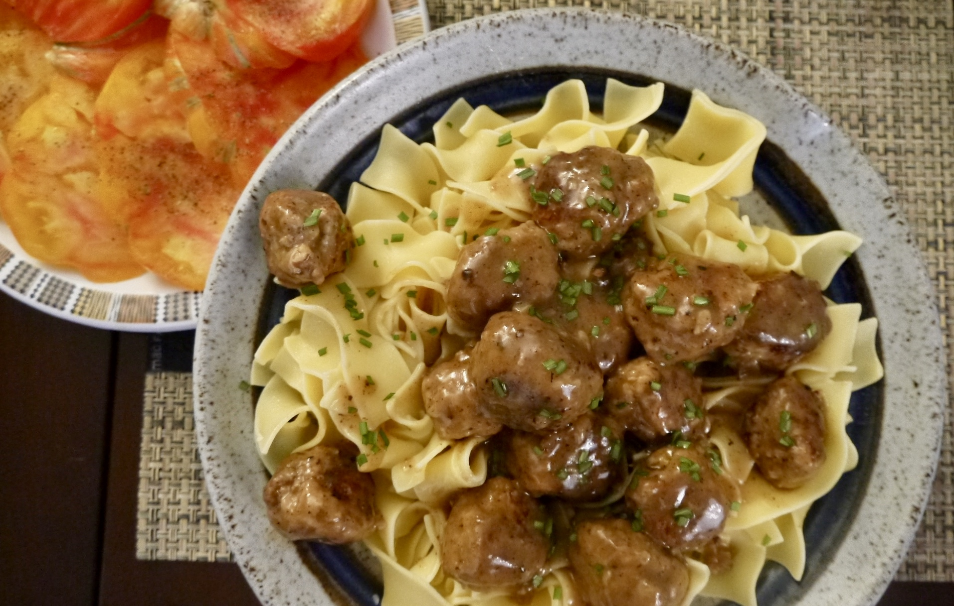 turkey meatballs marsala with egg noodles - trustinkim