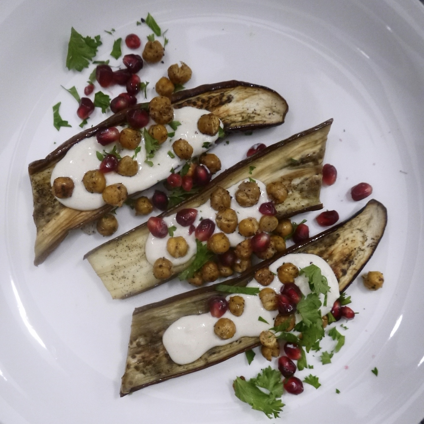 roasted eggplant and chickpeas with tahini sauce - trustinkim