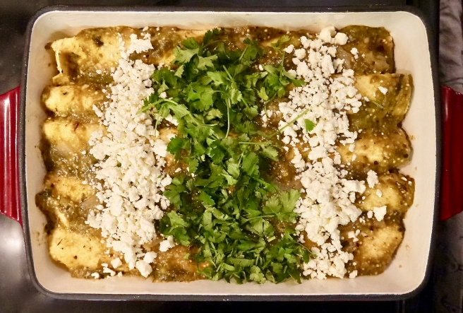 roasted tomatillo chicken enchiladas - trustinkim.com