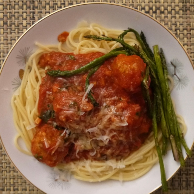 spaghetti and turkey meatballs - trustinkim.com